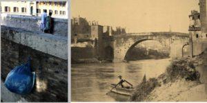 Sinistra: foto di Mohammed Keita, http://www.mohamedkeita.it/ , a destra ponte Cestio 1850